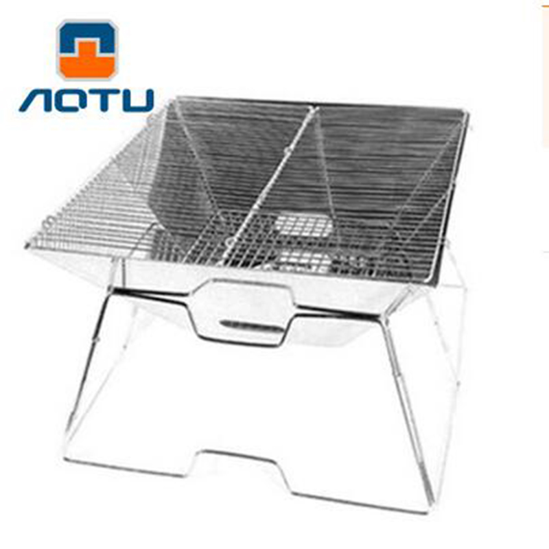 aotu foldable grill outdoor camping barbecue family charcoal bbq grill stainless steel oven nonstick surface ribbed grill style - Stainless Steel Charcoal Grill