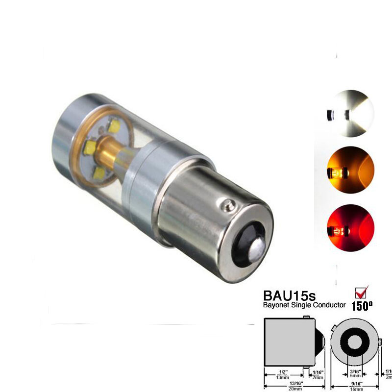 2pcs  Bau15s 7507 PY21W 30W CREE Chips  LED With Lens Shine Driving Lamp Car  Turn Signal Light Sourcing Light WhiteRedAmber
