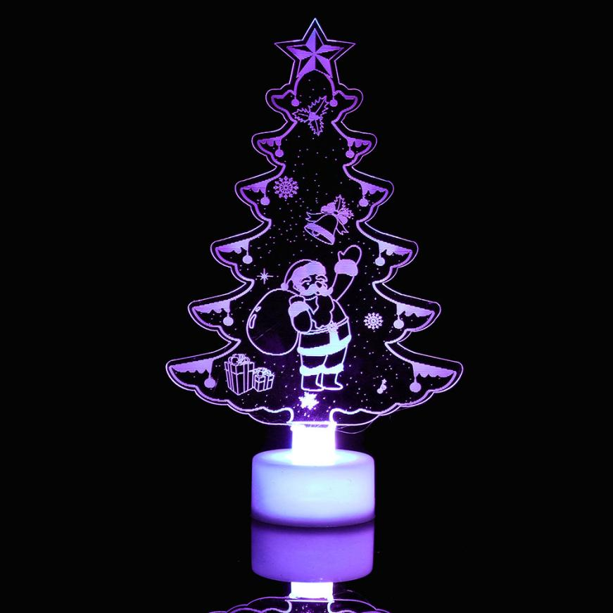 Snowman NEW Multi Color LED Light Clear Acrylic Christmas Tree Mood Lamp Night Arbol De Navidad Artificial