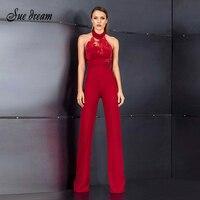 2018 Mùa Hè mới phụ nữ áo liền quần halter cổ sexy slim hai mảnh quần beading nổi tiếng đảng red jumpsuit vestidos bán buôn