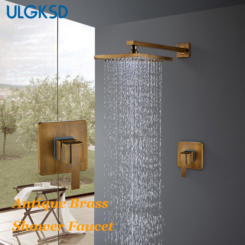 ULGKSD Bathroom Shower Faucet Antique Brass 8'' Shower Head Wall Mount Shower Set Hot and Cold Water Mixer Tap Para Bathroom antique brass bathroom rain shower set faucet wall mount mixer tap with handheld shower head