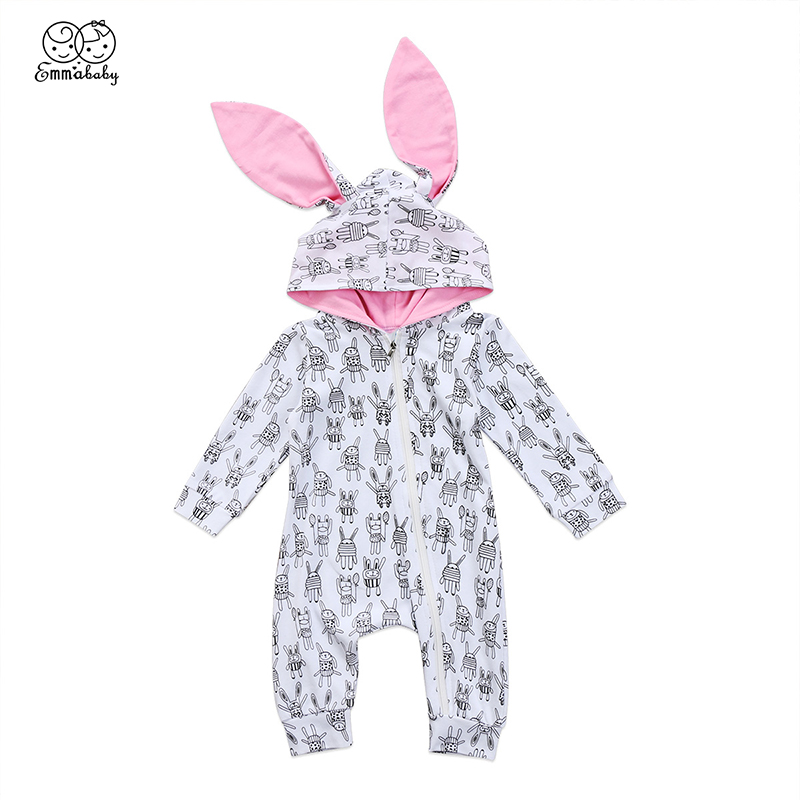 Cute Newborn Baby Bunny Ear 3D Hooded Romper Infant Boy Girl Rabbit Print Zipper Cotton Jumpsuit Playsuit Outfits Baby Clothes puseky 2017 infant romper baby boys girls jumpsuit newborn bebe clothing hooded toddler baby clothes cute panda romper costumes