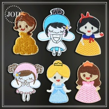 Small GIRL Cartoon Princess Iron on Patches for Clothing Embroidery Patch Clothes Applications Bag Sew Stickers Badges JOD
