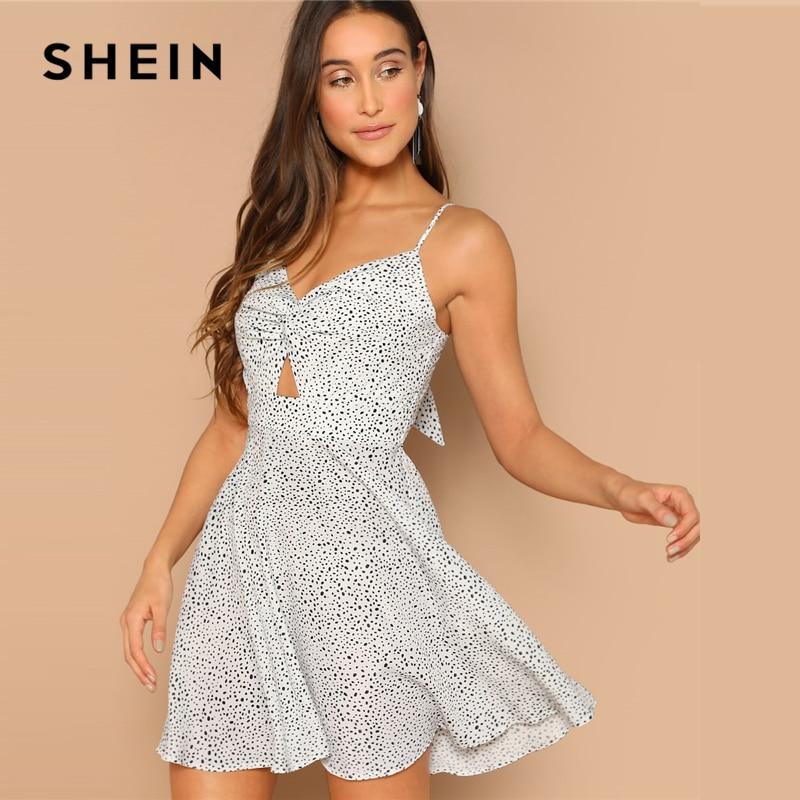 SHEIN черно-белое платье с открытой спиной и бантом, облегающее и расклешенное платье на бретельках, женское Повседневное платье без рукавов ...