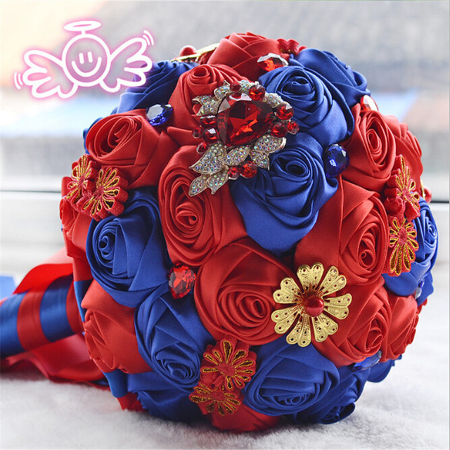 Gorgeous Chinese Style Wedding Flowers Bridal Bouquets Red Artificial Wedding Bouquet Crystal Sparkle With Pearls buque de noiva