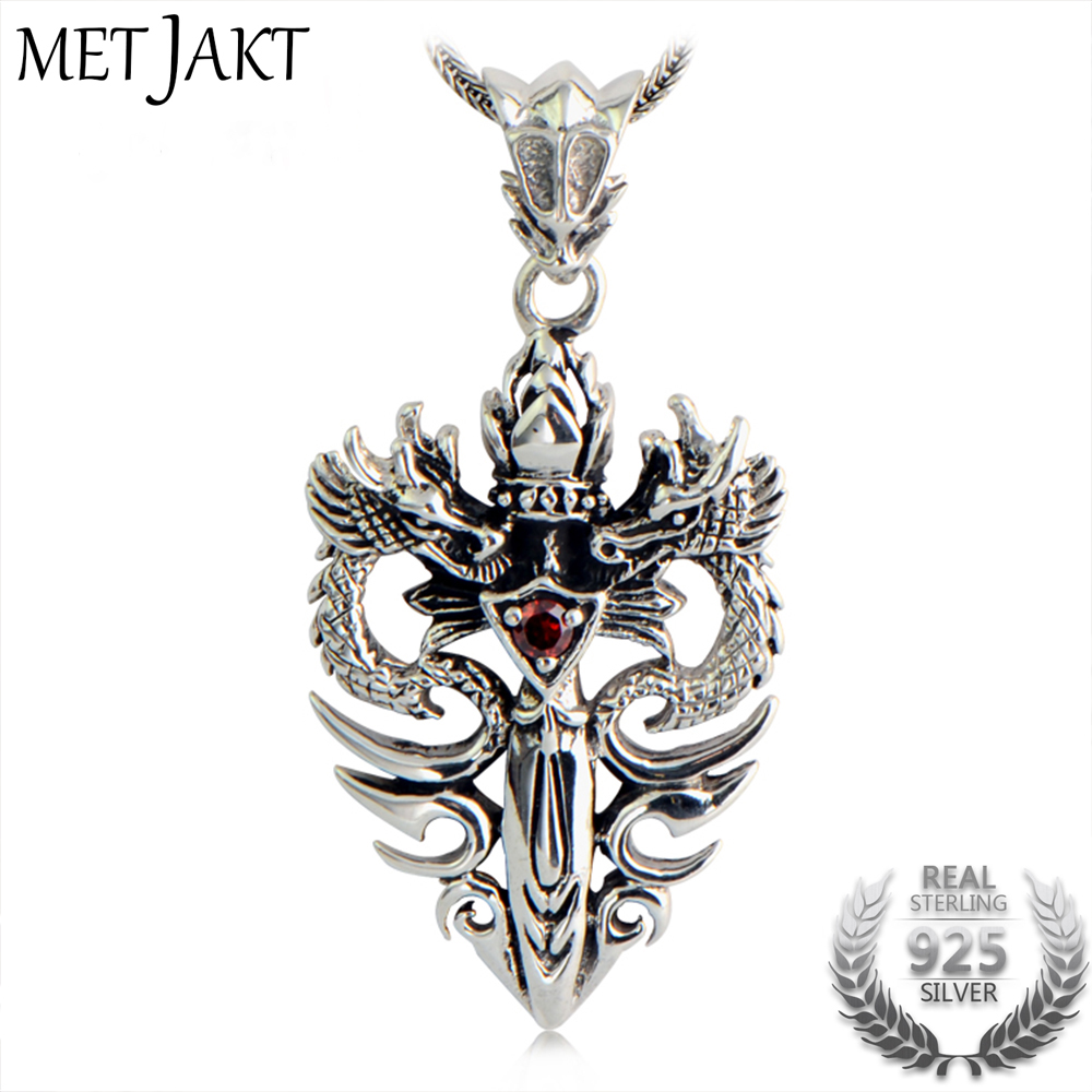 MetJakt Punk 925 Silver Double Dragon & Sword Pendant with Ruby and Sterling Silver Snake Chain Necklace Men's Necklace Jewelry men 925 sterling silver necklace with 4 mm classic round snake chain necklace the punk style silver ornament gift for boyfriend