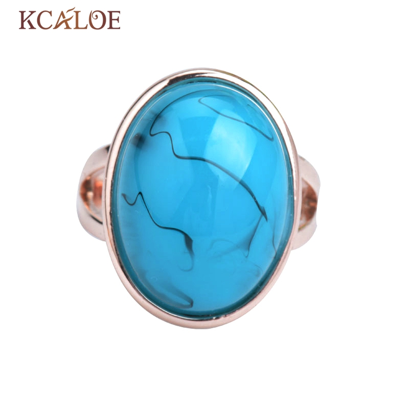 product Fashion Meus Pedidos Jewelry Big Natural Turquoise Stone Ring 18k Rose gold ring Semi-Precious Stone Rings for Women Bague Femme