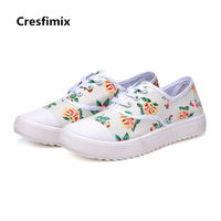 Cresfimix Zapatos De Mujer Women Casual Floral Printed Lace Up Shoes Lady Leisure Black White Canvas