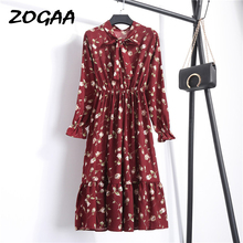 ZOGAA Summer Autumn Chiffon Floral Print Dress Casual Elegant Women floral Long Bowknot Dresses Sleeve Vestido S-XL Size
