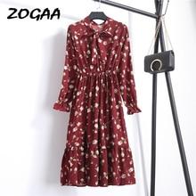 ZOGAA Summer Autumn Chiffon Floral Print Dress Casual Elegant Women floral Long Bowknot Dresses Sleeve Vestido S-XL Size