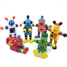 11cm Wooden Robot Toys Colorful Deformable Kids DIY Educational Toys for Children Move Body Action Figure Boys Girls Funny Gifts(China)