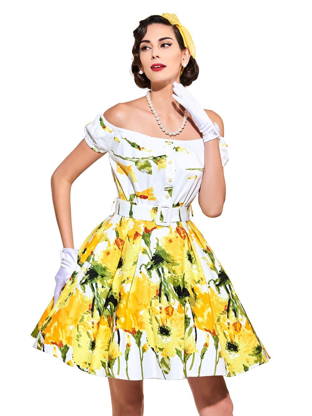 sisjuly frauen gelb sommer kleid slash pullover kleid yellow short  laternehülse weibliche knielangen mädchen sommer print kleider