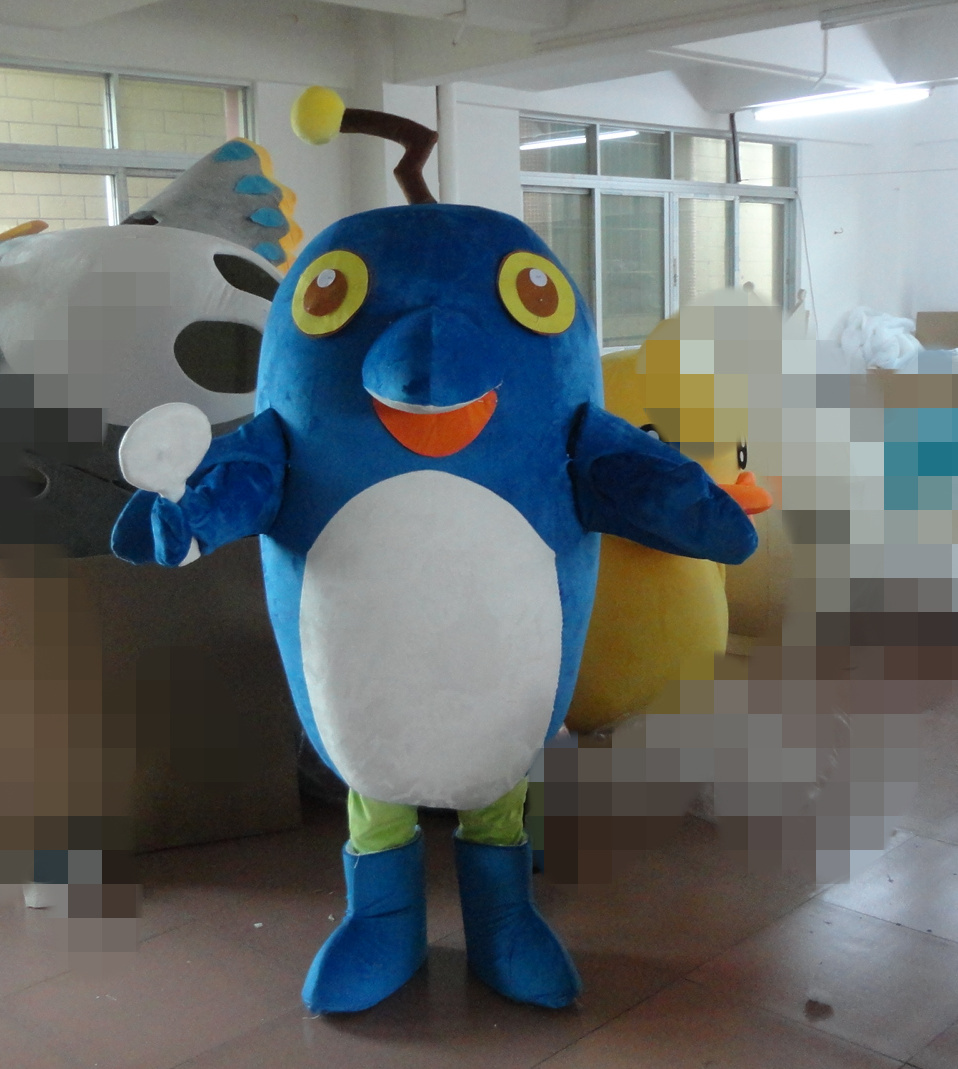 Big blue fish mascot costume dolphin disguise in anime for Big blue fish