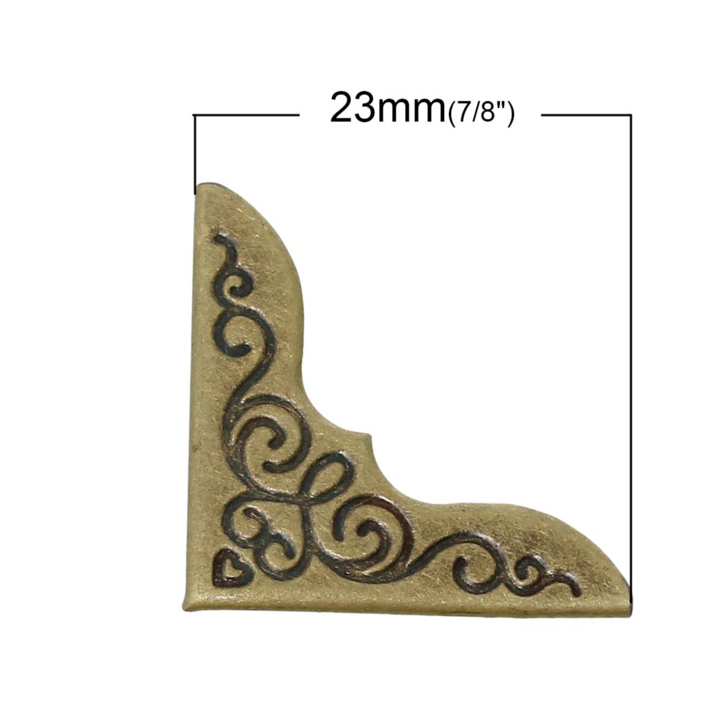 Book Scrapbooking Albums Menus Folders Corner Protector Antique Bronze Flower Pattern 23mm x 23mm,200 PCs 2016 new