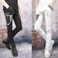 Stage Black White Splice Fashion 2016 Spring Punk Pants Mens Pants Motorcycle Pant Men Feet Trousers