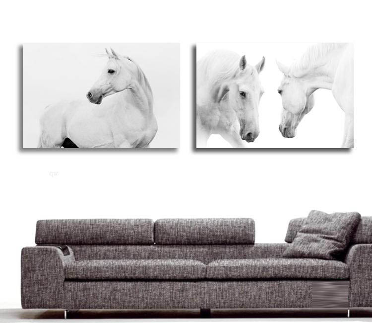 Large Wall Pictures For Living Room Decoration Art 2 Pieces Modern  Decorative Picture White Horse Animal