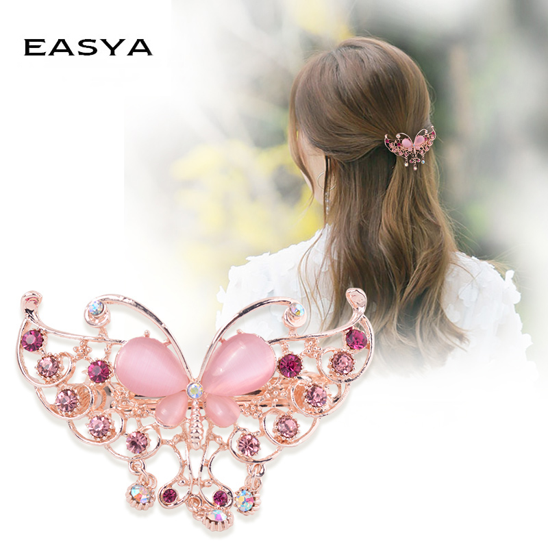 EASYA 3 Styles Butterfly Flower Hair Barrttes For Women French Style Barrettes Hair Clips Headwear Crystal Hair Accessories