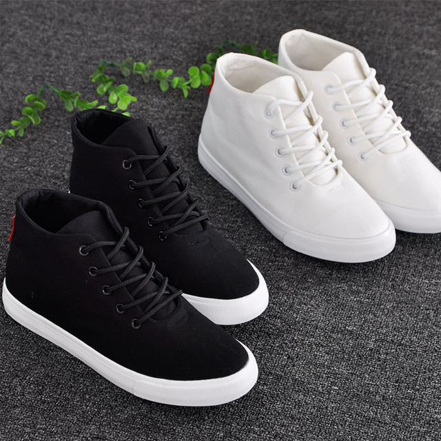 2016 spring flat high canvas shoes female small white shoes  preppy style lacing cotton-made