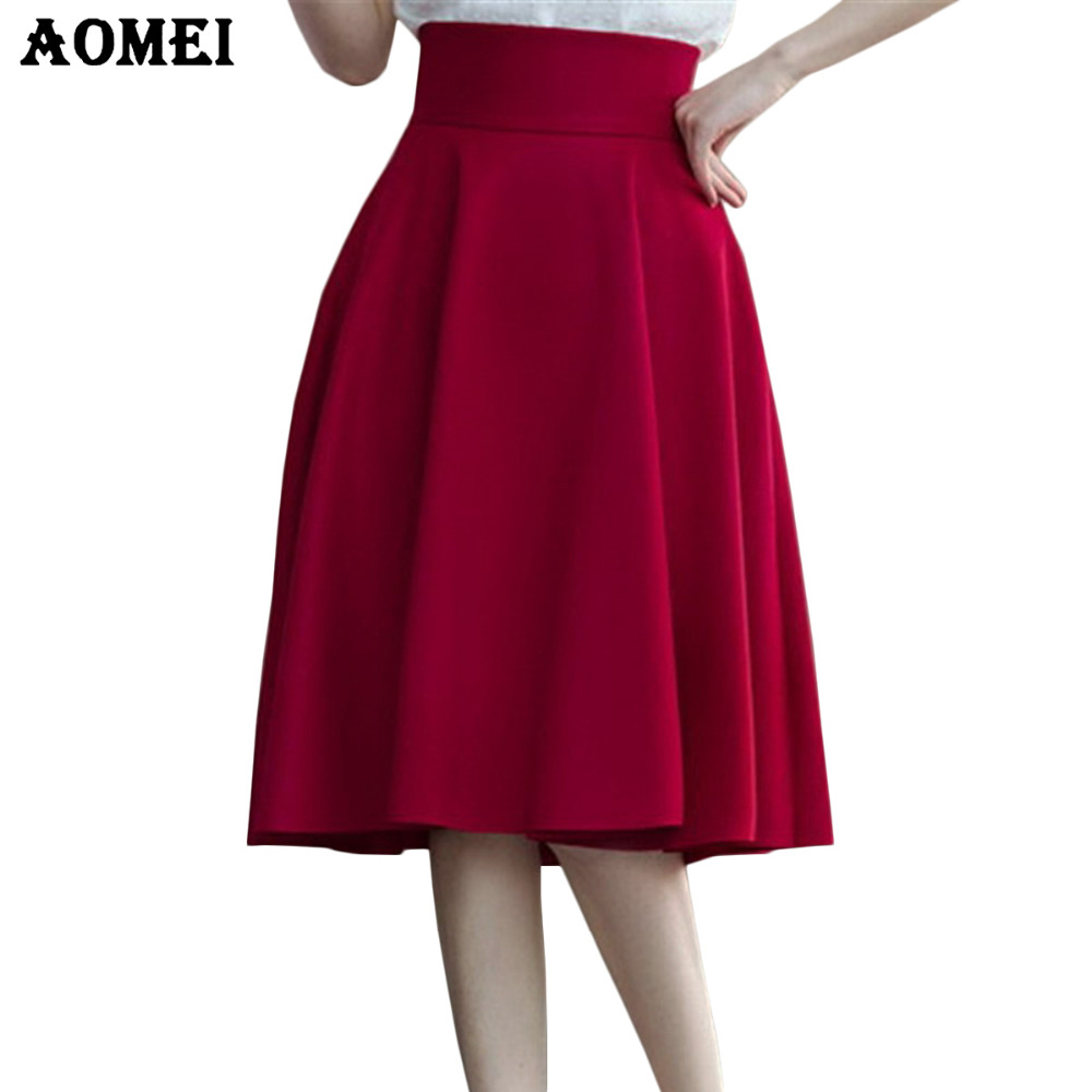 High Waist Pleat Elegant Skirt Green Black White Knee-Length Flared Skirts  Fashion Women Faldas Saia 5XL Plus Size Ladies Jupe