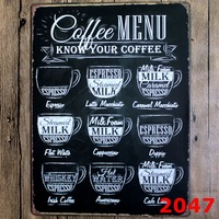COFFEE MENU New large Tin plate signs movie poster Art Cafe Bar Vintage Metal Painting wall stickers home decor 30X40 CM
