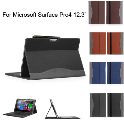 For Microsoft Surface Pro4 12.3 cover case good quality,leather Tablet protective case cover with screen protector film+ pen