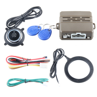 Car engine push start button RFID car alarm system with transponder immobilizer & green or red running light push start button