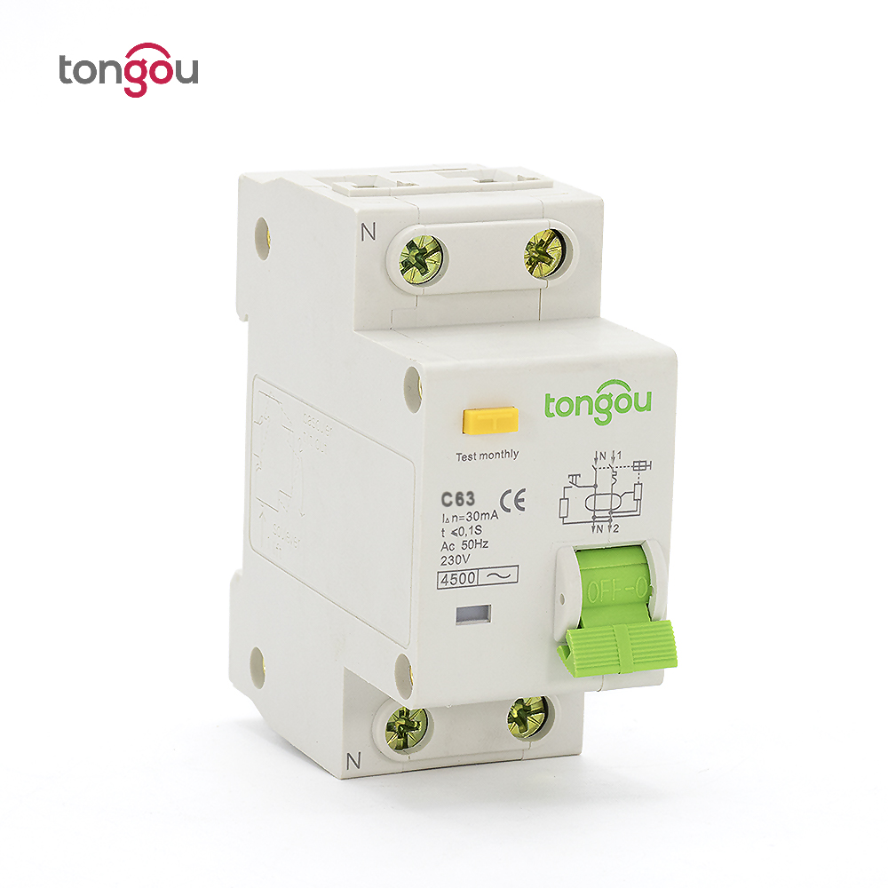 2 Pole 1P N 63A 230V~ 50HZ/60HZ Residual Current Circuit breaker With Over Current and Leakage Protection RCBO dz47le 3p n 63a 400v 50hz 60hz residual current circuit breaker with over current and leakage protection rcbo