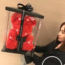 Горячая Распродажа 25 см мыло из пены медведь из роз Teddi медведь Роза цветок искусственный Год Подарки для женщин подарок на день Святого Валентина Рождество