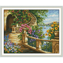 Joy Sunday Spring balcony Chinese cross stitch kits Ecological cotton clear stamped printed 14 11CT DIY gift  wedding decoration