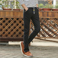 1 pcs dos homens plus size calças calças 2017 Moda Primavera algodão linho lace-up Meados de cintura calças Slim fit Homens Magros pant calças