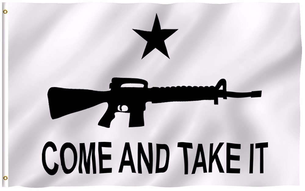 """2nd Amendment /""""Come and Take It/"""" Texas Cannon Flag; White 3/' x 5/'; New"""
