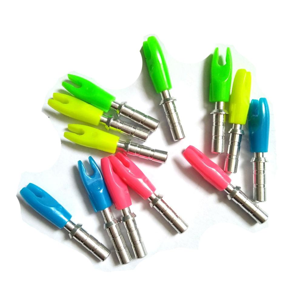 4 farben 36 teile/paket Hohe Qualität Kunststoff Pfeil Nocke mit Aluminium Pin von ID 4,2mm für Bogenschießen Jagd Schießen