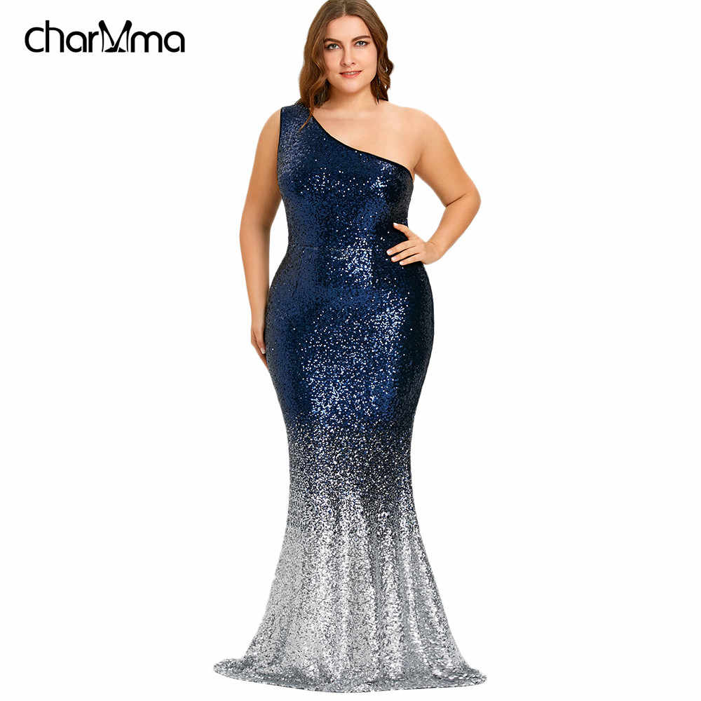 7c7d1fdeff Women Maxi Mermaid Sequined Dress Plus Size One Shoulder Sleeveless Bodycon  Female Vestidos Sexy Party Women