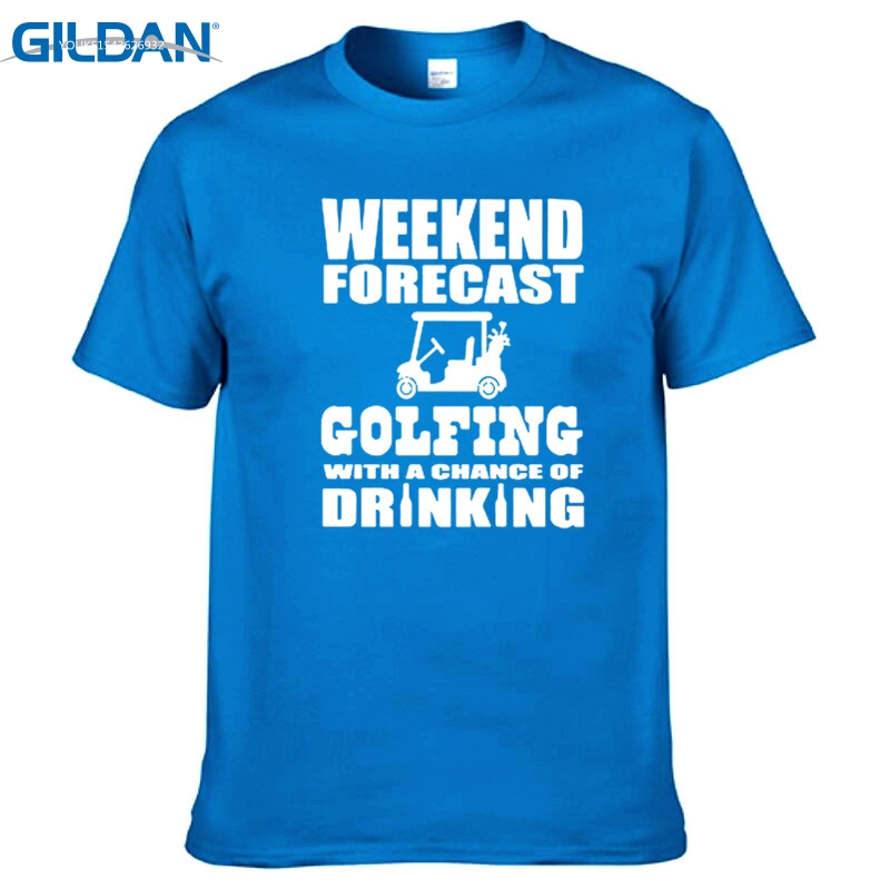 GILDAN Brand Men T Shirt Weekend Forecast Golfing With A Chance Of Drinking Printed Casual Short Sleeve Cotton T-shirts