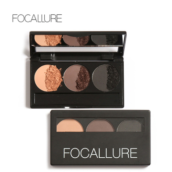Focallure Eyebrow Powder 3 Colors Eye brow Powder Palette Waterproof and Smudge Proof With Mirror and Eyebrow Brushes Inside sock