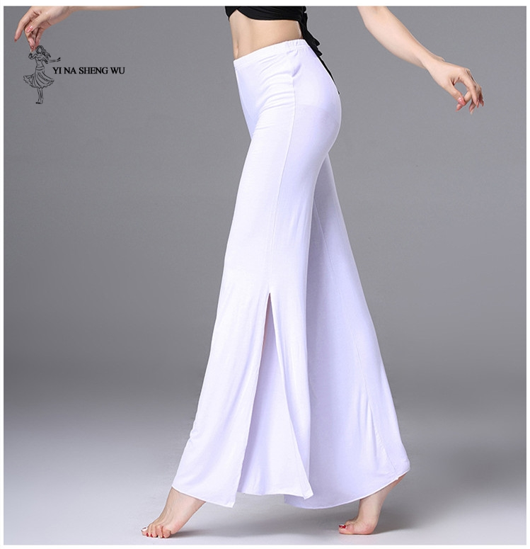Womem Dance Practice Clothes Belly Dance Costume Modal Fabric Dance Pants Lady Long Pants Black White Split Trousers Dancewear