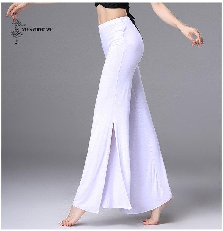 Womem Dance Practice Clothes Belly Dance Costume Modal Fabric Dance Pants Lady Long Pants Black White Split Trousers Dancewear