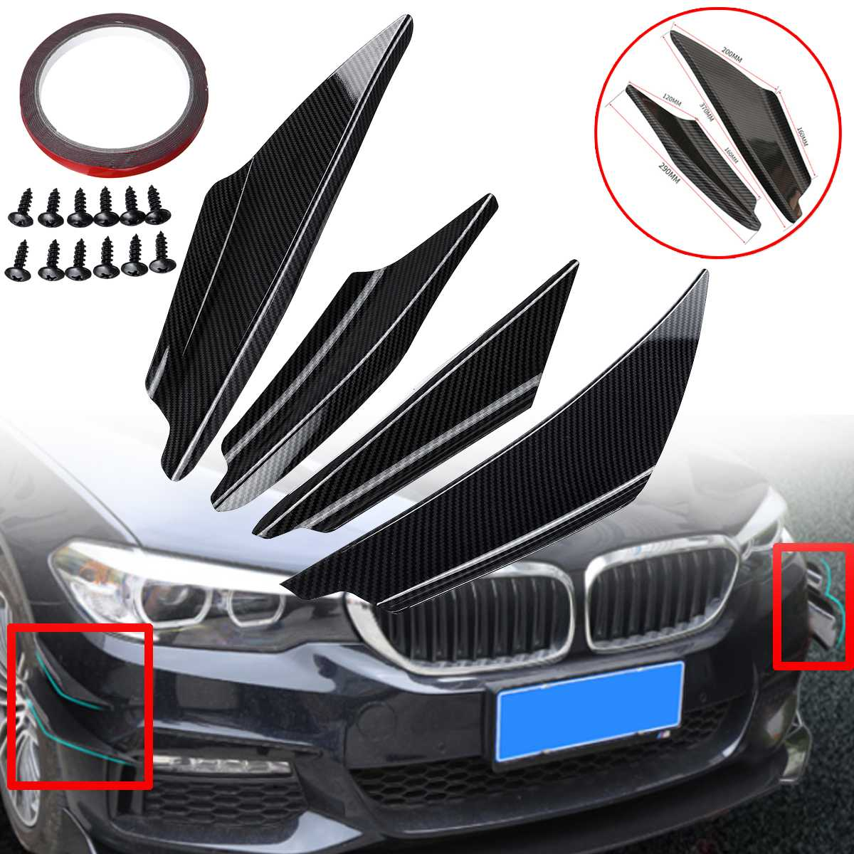 4Pcs Universal ABS Carbon Fiber Car Front Bumper Lip Spoiler Fins Canards Trim Kit with Adhesive Tape