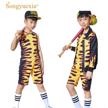 SONGYUEXIA New Boys and Girls Jazz Modern Street  Hip Pop Dance Costume Coat+Short 2Pcs Stage Performance Suit Catwalk Drum