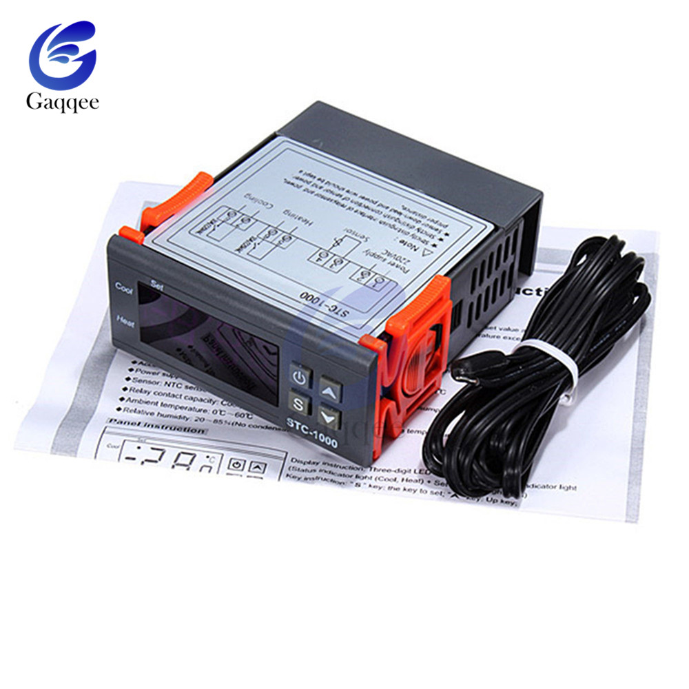 hight resolution of led digital temperature controller regulator stc 1000 dc 12v 72v 24v 220v thermoregulator thermostat incubator w heater cooler in temperature instruments