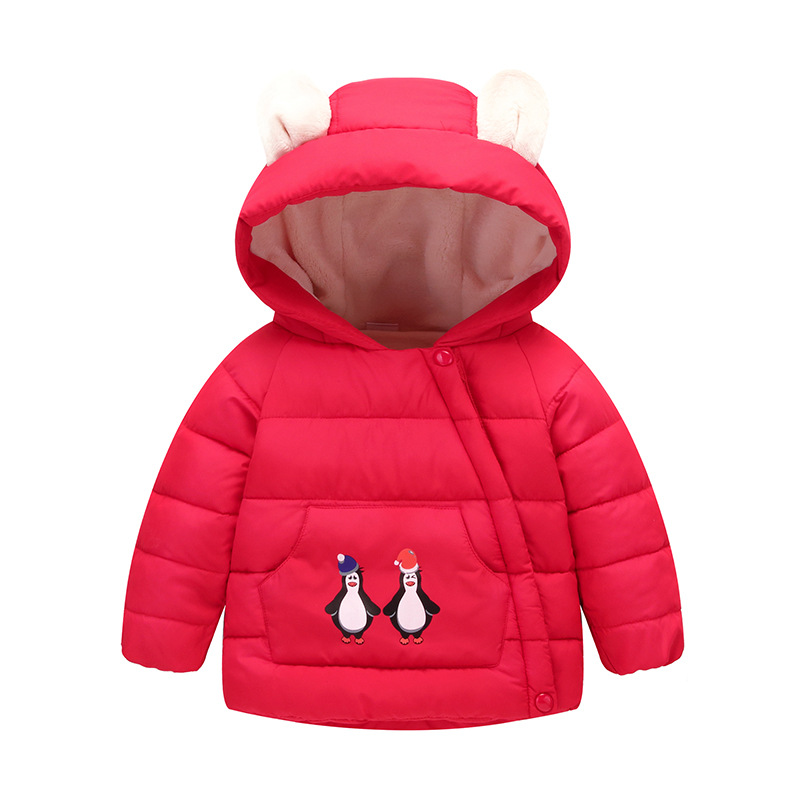Children baby clothes velvet thickening with a hood wadded jacket short design male female child outerwear cotton-padded jacket
