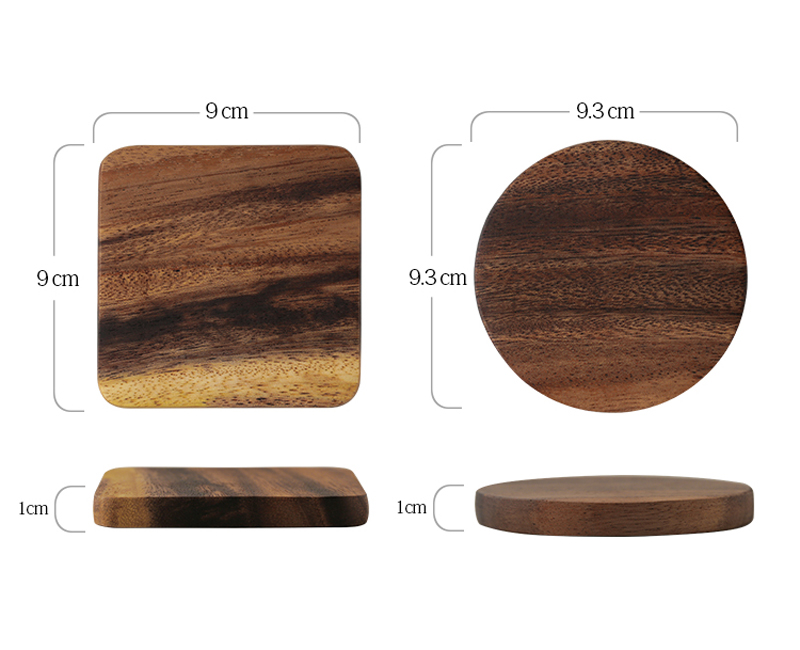 1Pc Wood Coaster Square Round Mug Coasters Table Mat Tea Coffee Bar Cup Mat Pad Wooden Drink Coasters Placemat Table Accessories (8)