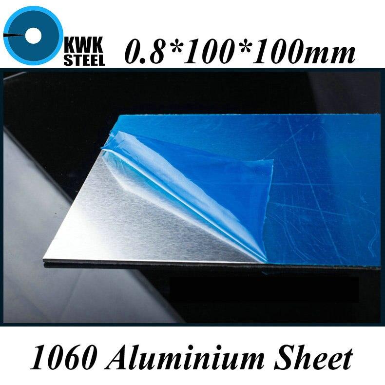 0.8*100*100mm Aluminum 1060 Sheet Pure Aluminium Plate DIY Material Free Shipping