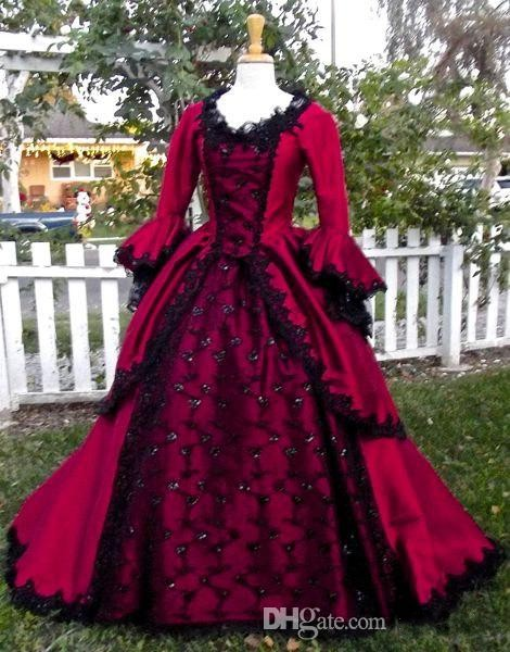 Gothic Sleeping Beauty Princess Medieval Red And Black Wedding Dresses Ball Gown Long Sleeves Embroidery Victorian Bridal Gowns In From