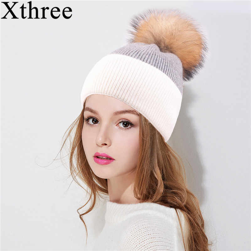 Xthree winter beanies Skullies hat for women two tone knitted wool hat real  mink fur pom 6e30e3d23afa