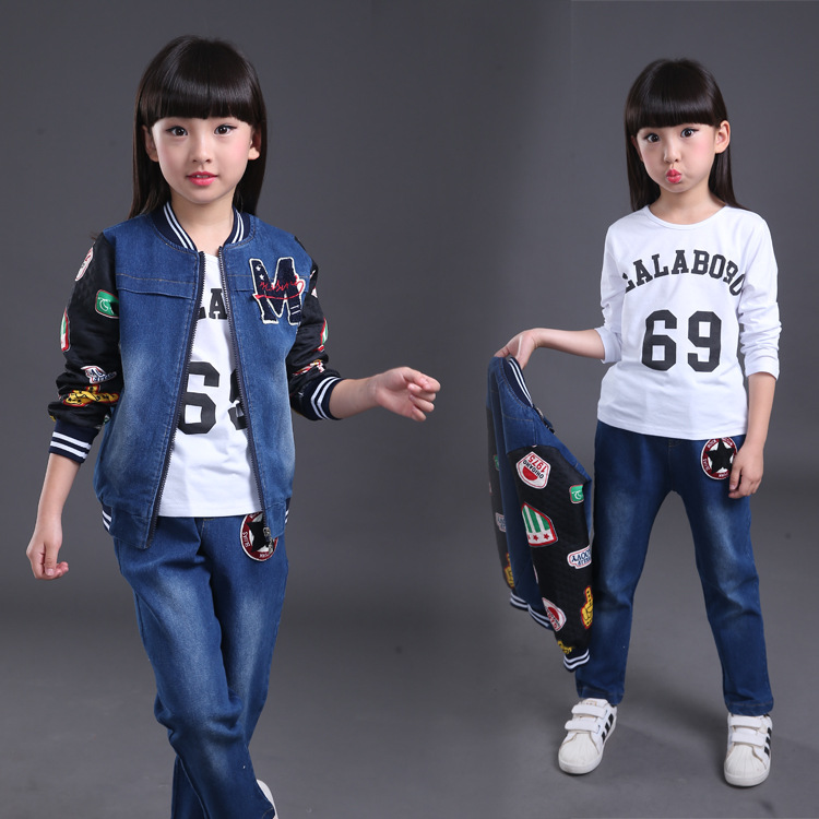 Hot sale two pieces big kids denim jacket and pants suit korean style fall girls clothes sets 2 to 10 12 year new next fall girls graffiti sets european and american style printing zipper cardigan cartoon princess hot sale children s sets