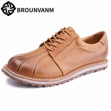 British retro all-match cowhide High Quality Genuine Leather Shoes Men,Lace-Up Business Men Shoes,Men Dress Shoes spring autumn цена 2017