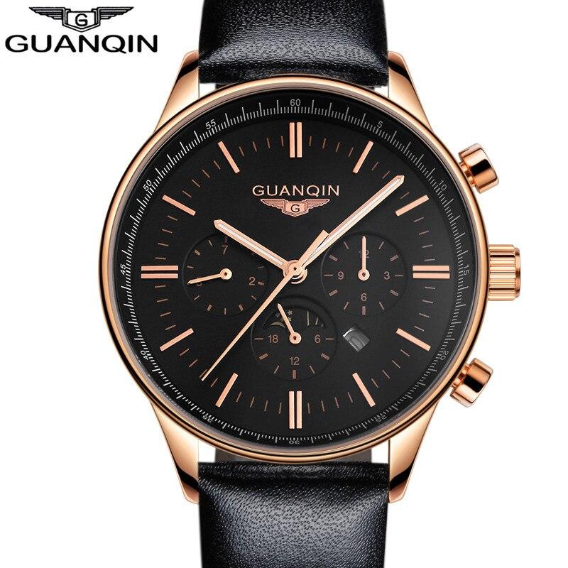 ФОТО GUANQIN Mens Watches Top Brand Luxury 2017 Fashion Men Luminous Quartz Watch Male Clock Wristwatches guanqin relogio masculino A