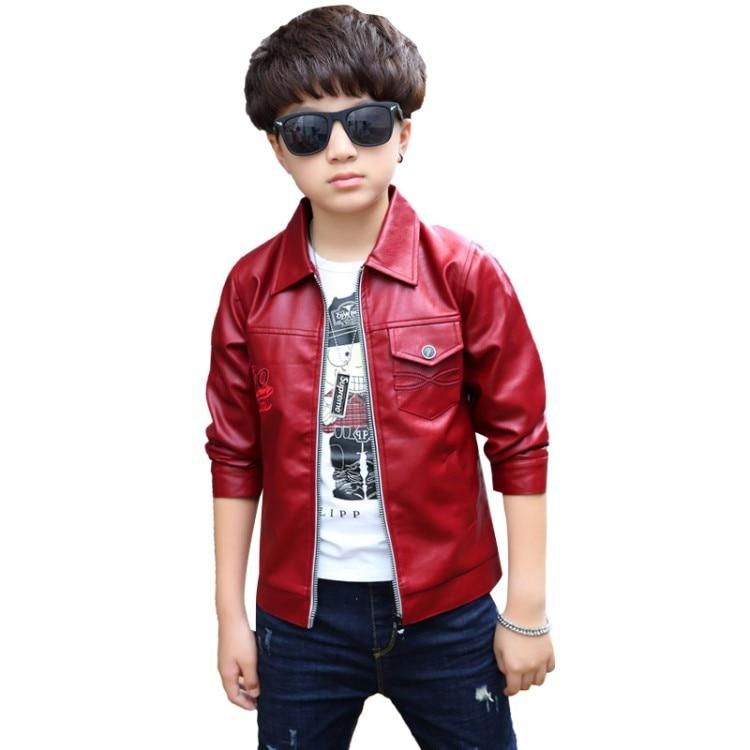 Teenage boy jacket outerwear winter kids jacket boys red pu jackets kids clothes 7 10 12 age coat autumn jacket my little boy комбинезон утепленный little boy little boy mp002xg006ex