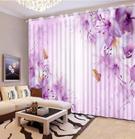 Fashion 3d curtains window curtains for living room 3d purple flower custom curtains modern living room curtains